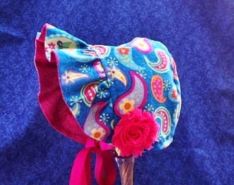 Baby Bonnet Blue Paisley Reverses to Solid Pink Paisley Ruffled Brim Bonnet