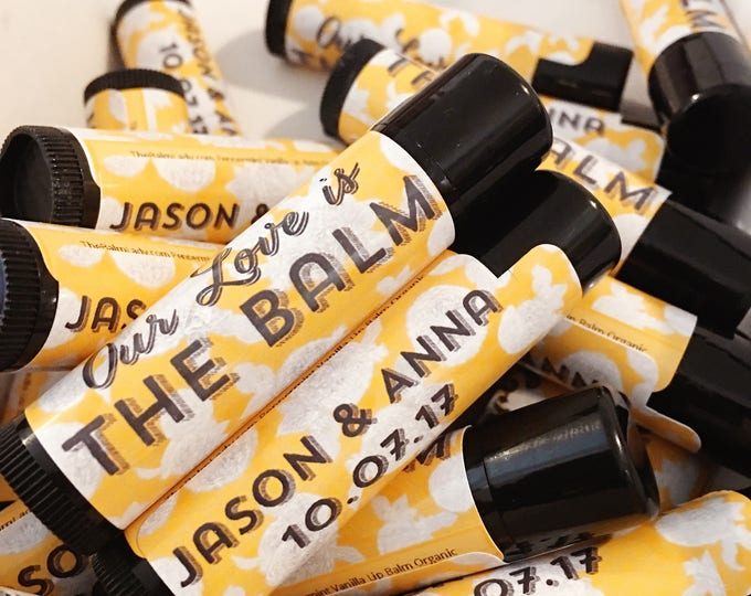 Wedding Favors Yellow gold and Black Lip Balm, personalized lip balm, bridal party, wedding guests, customized