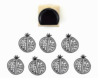 Rubber Stamp Pomegranate | Pom Pom Pomagranate Hand Drawn Stamp