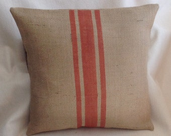Burlap Pillow Cover/Grain Sack Rustic Orange Striped Urban Farmhouse Pillow by sweet janes plan