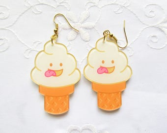 Big Ice Cream Cone Earrings / Kawaii Earrings / Cute / Fun / Food Earrings / Resin / Earrings