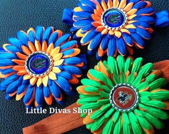 READY TO SHIP!   Florida Gators Flower Crochet Elastic Headband   Orange and Blue
