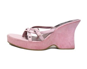 Vintage 90s Baby Pink Club Kid Strappy Slip on Platform Sandals Size 8
