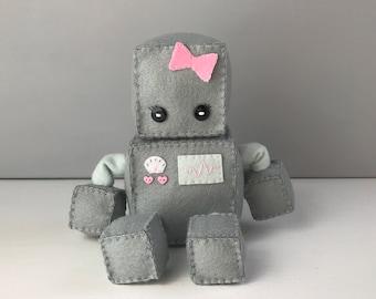 Felt robot softie - grey with pink bow