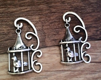 20pieces 35mmx20mm birdcage -  antique silver charm pendant Jewelry Findings