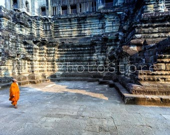 Cambodia Photography, Buddhist Monk in Angkor Wat Temple, Cambodia Print, Asia Art, Monks Poster, Fine Art Print, Monk Wall Art Print