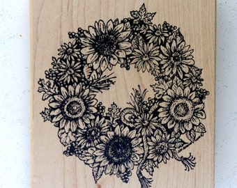 Sunflower Wreath Wood Mounted Rubber Stamp by Northwoods Rubber Stamps