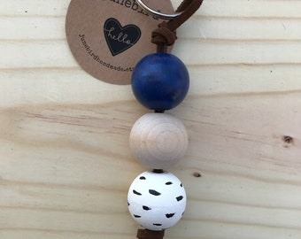 Handpainted Wood Bead Keychain