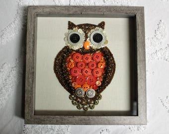 Button Art - Owl