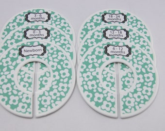 Custom Baby Closet Dividers Green Nursery Baby Shower Gift Closet Organizers Finished Product