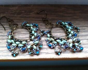 Heart Shape beaded wire earrings