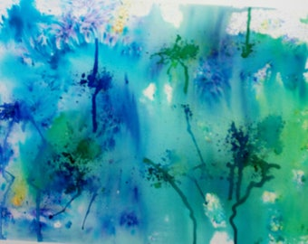 Nature's energy art, original, handpainted, abstract, watercolour painting, wallart,  Green and Blue.