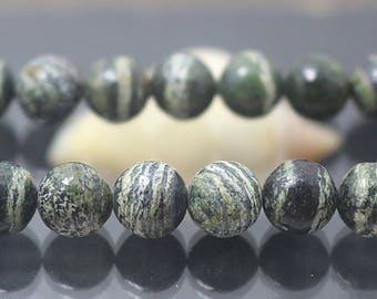 8mm Green Zebra Jasper Gemstone Round Beads, 15'' one strand
