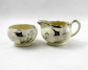 Cream and Sugar by Lancaster Sandland with Holly Leaves and Berries, Vintage Lustreware
