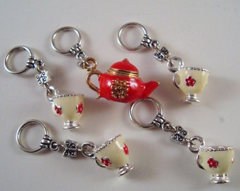 Tea Party Stitch Markers Cuppa Tea Pot Coffee Cup Enameled Theme Set of 5/SM158