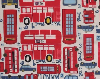 London Fabric, Kid's London Patterned Cotton Fabric, Red London Bus and Taxi Cotton Fabric