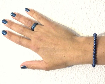 Bracelet and steel ring set, dark blue eye tiger steel ring and 6mm pearl bracelet, deep blue bracelet and steel ring set, blue jewelry set