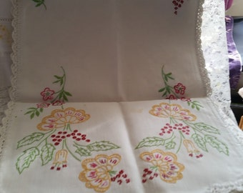 Heavy Linen Embroidered Table Runner