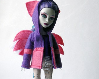 Monster Doll Hoodie Jacket, MH Jacket With Wings and Ears, Felt Jacket