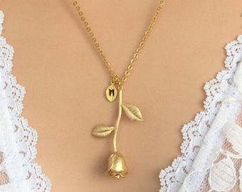 Gold Rose Necklace, Beauty and the Beast Rose pendant Necklace, Initial Necklace