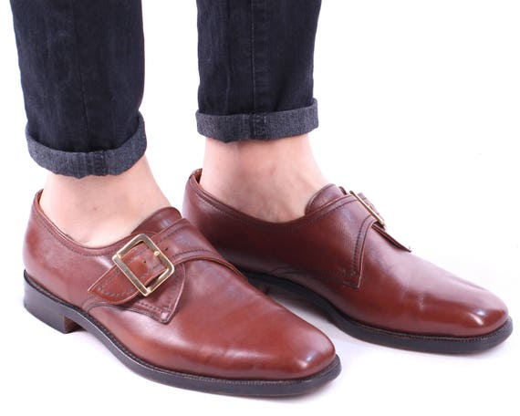 Shoes Us Retro 42 Uk Men's Eur Church's Strap Real Buckle Monk 80s Wedding 8 5 Oxfords Whiskey Men Vintage Leather 8 Brogues 0qwd6Bd
