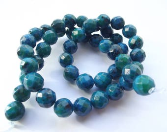 48 round faceted dyed 8 REIA 405 mm azurite beads