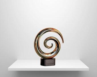 Glass Art Personalized Recoginition Award- Swirl Design