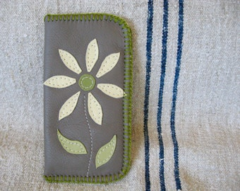 Grey Leather Eyeglass Case with a pale yellow leather daisy- Summer !!!