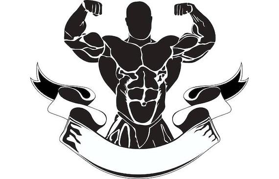 bodybuilding logo 12 bodybuilder banner flexing weightlifting rh etsy com bodybuilding log software bodybuilding logo maker