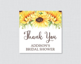 Sunflower Bridal Shower Favor Tags Printable - Rustic Bridal Shower Favor Tags, Thank You Tags - Yellow Sunflower Bridal Favor Tags 0016-A