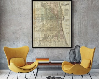 Chicago Map 1857, Chicago Old Map, America Old Map, Vintage Map of Chicago, Chicago Map, Office Decor- CP052