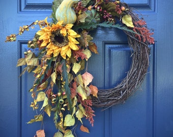 Fall Wreaths, Thanksgiving Wreaths, Fall Door Decor, Autumn Wreaths, Fall Door Wreath, Sunflower Wreaths, Fall Colors, Fall Decorating