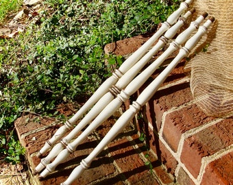 Antique Wood Spindles Set of 4 Architectural Salvage Furniture Parts Farmhouse Rustic Chippy Paint Hand Turned Hardwood