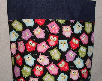 New Handmade Medium Whimsical Owls Denim Tote Bag Purse