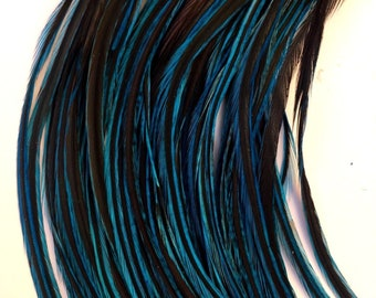 "Real Feather Hair Extensions 20 Turquoise 9-10"" Salon Quality Accessories"
