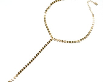 Coin Choker Necklace, Y Lariat Necklace, Gold Statement Necklace in Sterling Silver, Gold Filled, Gold Choker Necklace, Lariat Jewelry