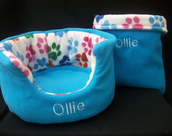 COZY PETS **High QUALITY**Polar Fleece** Small Animal ,Pet, Guinea pig bed rat rabbit degu hedgehog snuggle bed  ** personalised to order **