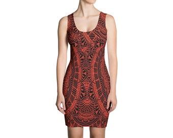 Red Mandala Dress   Mandala Dress Boho Dress Tribal Dress Geometric Dress Boho Mandala Red Dress Hippie Dress Sacred Geometry Bodycon Mini