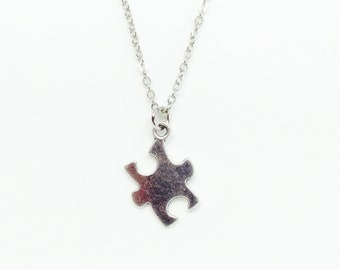 """Autism and Asperger's Awareness Silver Puzzle Piece Necklace, Silver Autism Necklace 16"""" or 18"""""""