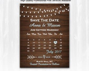 Rustic Save The Date Magnet or Card DIY PRINTABLE Digital File or Print (+) String Lights Save The Date Country Wood Save The Date Barn