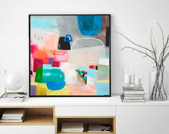 Colorful poster print, Wall art geometric print, large abstract painting Giclee print, home wall art, abstract art, large landscape art
