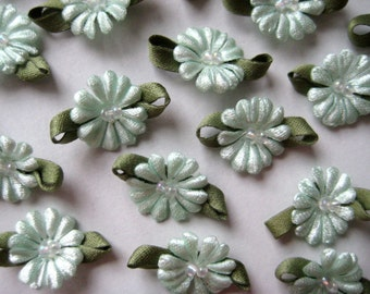 Mint Flower with Beads Appliqués 0.75 inch, 30 pieces forWedding, Embellishment, Doll Clothes, Crafting, Sewing, Invitation Cards, 2 cm