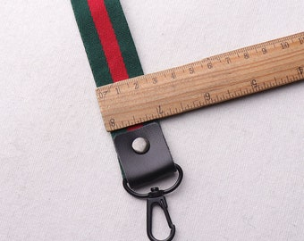 """1""""(25mm) Key FOB / KeyChain / Wristlet Green and Red keychain with Lobster Clasp,on webbing friends teacher gifts under 10(rb87)"""