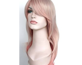 Ombre Pink long wavy wig. synthetic hair. ready to ship.