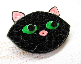 Black Cat Brooch, Black Cat Jewellery, Pinup Jewellery, Pinup Brooches, Quilled Jewellery, Quilled Brooches, Rockabilly Brooches, Black Cat
