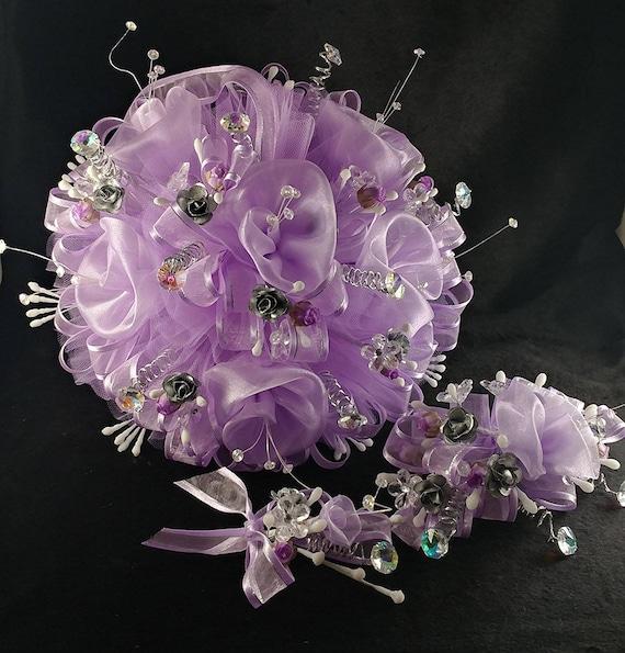 15th Quinceañera / Lavender Light Purple Flowers Bouquet With