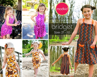 BRIDGET Dress PDF Downloadable Pattern by MODKID... sizes 2T to 10 Girls included - Instant Download