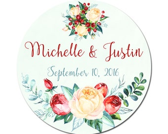 Custom Wedding Labels Personalized Florals Roses and Berries Watercolor Flowers Round Circle Glossy Designer Stickers - Quantity 100