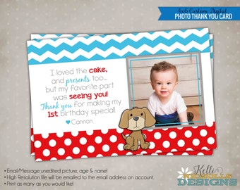 Puppy Children's Photo Birthday Party Thank You Card, Dog Thank You Note #B123