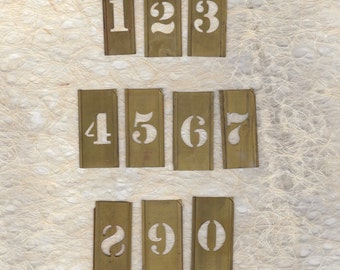 "1"" Brass Stencil Pick your Number ready to alter or collage"